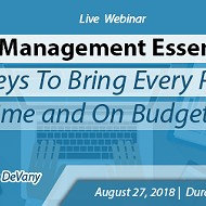 Webinar on Project Management Essentials: The 8 Keys To Bring Every Project In On Time and On Budget