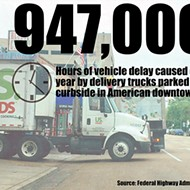 Downtown Delivery Trucks Block City Streets