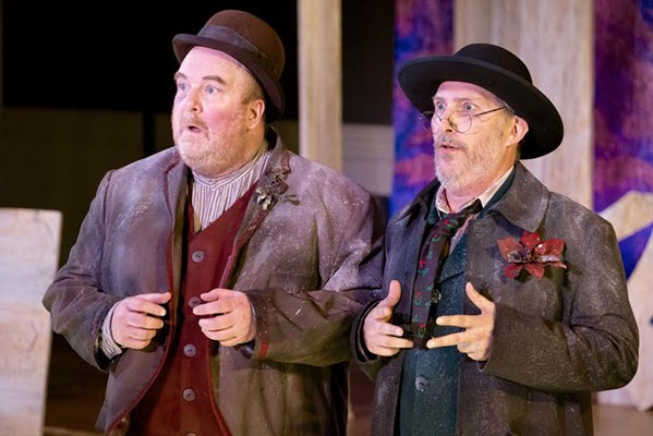 Paul Kiernan and Dave Demke as Estragon and Vladimir in the Tennessee Shakespeare Company's production of Waiting for Godot at the Dixon Gallery and Gardens. - JOEY MILLER.