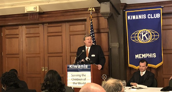 Mayor Strickland speaks to a crowd of about 100 people at a Kiwanis Club meeting.