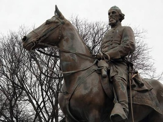 The Nathan Bedford Forrest equestrian statue that  once stood in Health Sciences Park