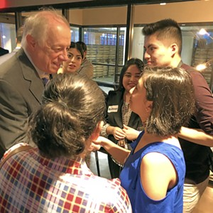 The former Governor schmoozed happily with a group of young Dreamers in Memphis. - JB