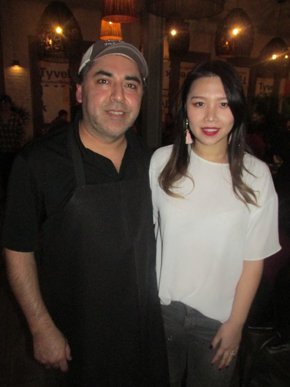 Manuel and Lisha Martinez at Maciel's Highland soft opening. - MICHAEL DONAHUE
