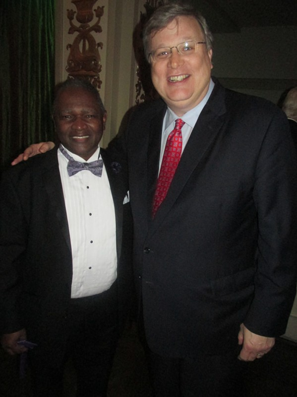 Cordell Walker, executive director of  Alpha Omega Veterans Services, and Mayor Jim Strickland at the Military Masquerade. - MICHAEL DONAHUE