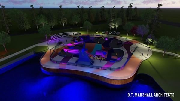 Rendering of skate park - OT MARSHALL ARCHITECTS