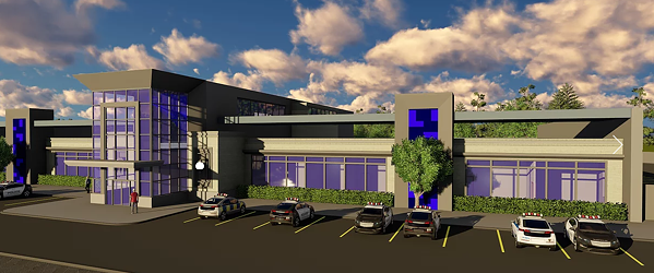 Rendering of police precinct and traffic command center - OT MARSHALL ARCHITECTS