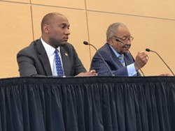 Almost all of the NAACP forum consisted of an informative back-and-forth between Democratic candidates Lee Harris (l) and Sidney Chism. - JB