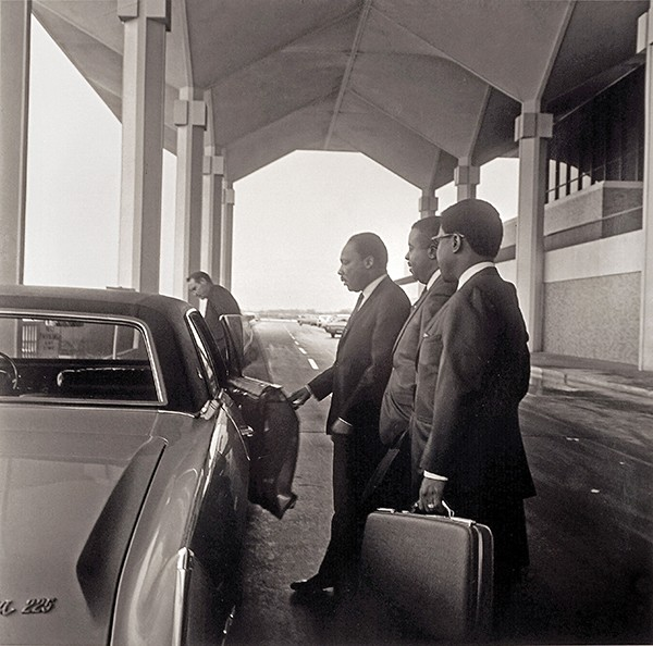 Ernest C. Withers, American, 1922 – 2007, - Martin Luther King, Jr. and Reverend Abernathy, - Day Before Assassination, Memphis Airport, April 3, 1968. - Gelatin silver print, printed from original negative in 1999, Memphis Brooks Museum of Art purchase with funds provided by Ernest and Dorothy Withers, Panopticon Gallery, Inc., Waltham, MA, Landon and Carol Butler, The Deupree Family Foundation, and The Turley Foundation 2005.3.5 - © Withers Family Trust