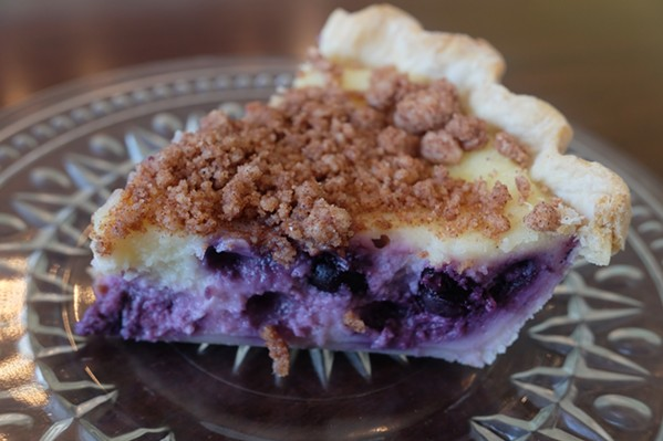 Sour cream blueberry pie at Buon Cibo in Hernando. - MICHAEL DONAHUE