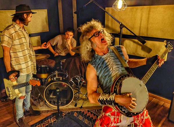 """I'm not sure my metal act is what Drew Erwin (center) is looking for at his downtown studio, The Cabin. In fact, I know it's not. Daniel Waterbury rounds out our """"band."""" - JON W. SPARKS"""
