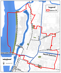The boundaries of the Uptown TIF. - MEMPHIS AND SHELBY COUNTY COMMUNITY REDEVELOPMENT AGENCY