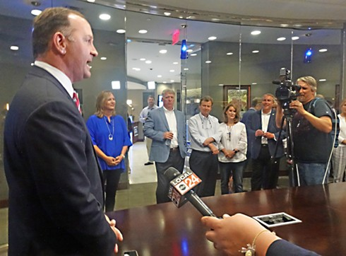 Republican mayoral nominee David Lenoir faces the press at Evolve Bank on Poplar - JB