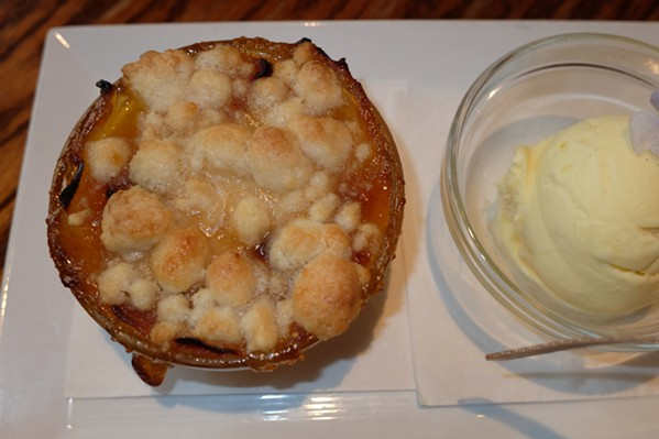 Jenny Dempsey's home-made mango-orange cobbler and home-made vanilla ice cream at McEwen's. - MICHAEL DONAHUE