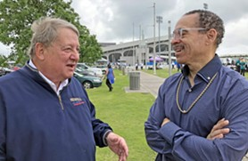 """Likely Council candidate Kenneth Whalum chats with supporter John Elkington at last weekend's Rotary—sponsored """"Cafe du Memhis"""" at Tiger Lane. - JB"""
