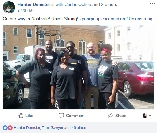 Group of activists prepare to travel to Nashville for the launch of the Poor People's Campaign's 40 days of nonviolent, direct action. - FACEBOOK