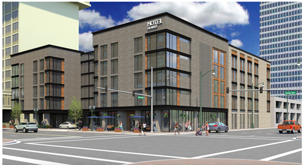 A rendering shows a proposed hotel for the corner of B.B. King and Union. - DOWNTOWN MEMPHIS COMMISSION