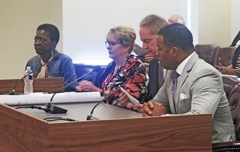 Testifying at County Commission on early voting site controversy on Wednesday were (l to r) Norma Lester, Democratic member of the Election Commission, Election Administrator Linda Phillips, Election Commission chairman Robert Meyers, and Corey Strong, chairman of Shelby County Democratic Party. - JB