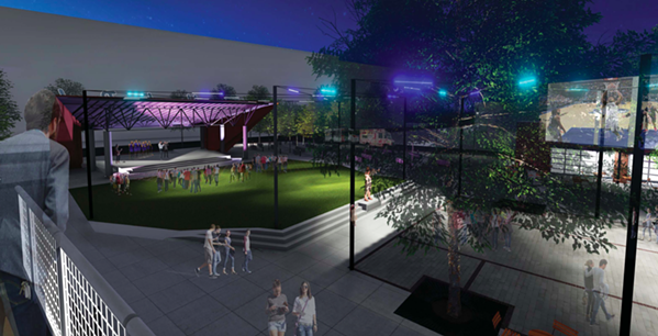 "The park is re-imagined in this first-place-winning design called ""Handy Park: A Civic Space Revival"" from a group of designers from Kimley-Horn and brg3s. - DOWNTOWN MEMPHIS COMMISSION"