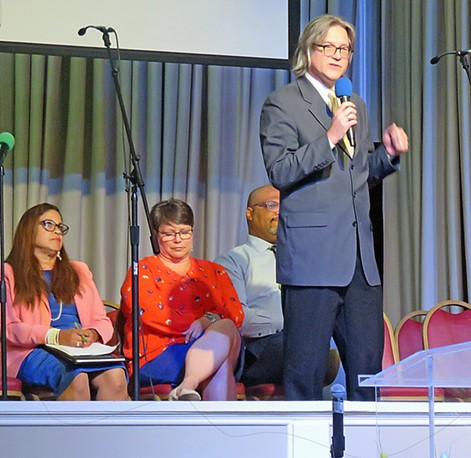 Council Candidates at Woodland Hills: from left, Erika Sugarmon, Lisa Moore, Tim Ware, Charley Burch (at mic) - JB