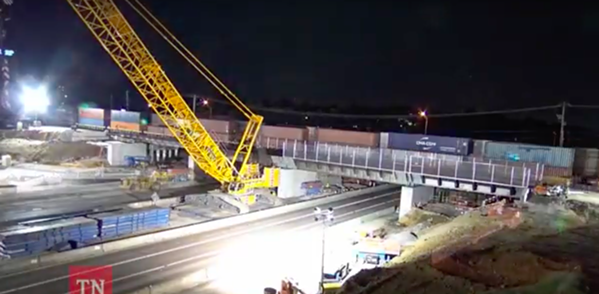 A screen grab from TDOT's MemFix 4 time lapse video. - TDOT