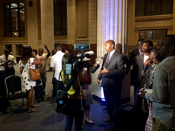 County mayor victor, Lee Harris, talks with reporters at his victory party. - WARD ARCHER