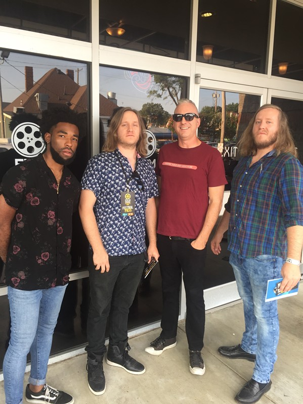 Memphis Film Prize first-place winner Kevin Brooks, left,  with Ivon and Eyan Wuchina and Memphis Flyer's Chris McCoy at one of the screenings at Malco Studio on the Square - MICHAEL DONAHUE
