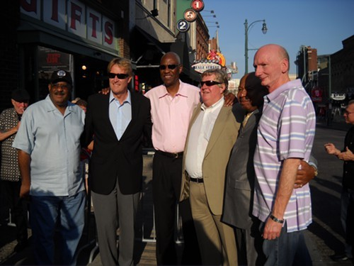 Bud Chittom (center) receiving his brass note on Beale Street in 2011.