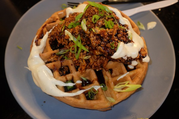 Spencer Coplan's take on chicken and waffles. - MICHAEL DONAHUE