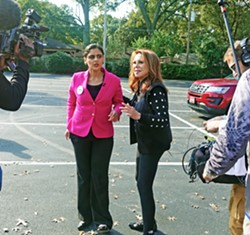 State Senate candidate Gabby Salinas (left) and supporter Marlo Thomas of St. Jude prepare to meet with the media on Saturday. - JB