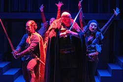 Michael Khanlarian (Banquo), Paul Kiernan (Macbeth), and the Witches. Through Nov. 4. - TENNESSEE SHAKESPEARE COMPANY
