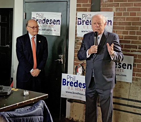 Speaking to supporters at Railgarden, former Governor Phil Bredesen appeals for a good turnout at the polls. 9th District Congressman Steve Cohen (l) was one of several Democratic officials attending the Thursday lunch, which was hosted by Shelby County Mayor Lee Harris. - JB