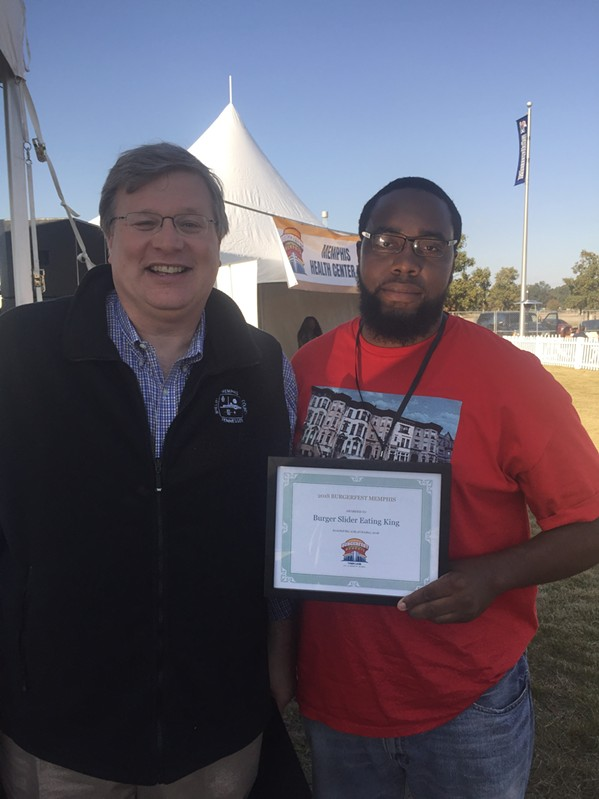Mayor Jim Strickland and Slider-eating champion Chris Clark at Burger Fest. - MICHAEL DONAHUE
