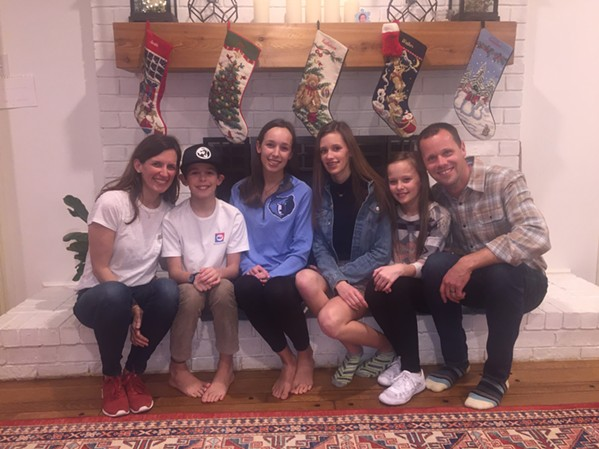Chris and Jill Williams and their family host an annual open house between 6 and midnight New Year's Eve. Pictured are Jill, Walker, Allie, Katherine, Caroline and Chris Williams. - Not pictured is son, Austin, who was celebrating elsewhere with friends. - MICHAEL DONAHUE