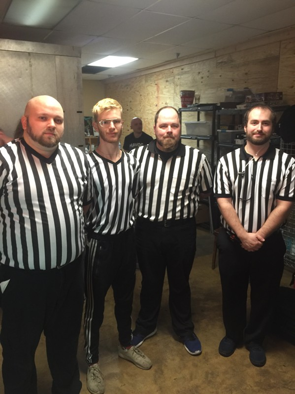 """901 Wrestling referees: Billy """"You Had Your Chance"""" Robinson, Tracksuit Donny, Blue Shoes David Knight and Jay """"No Fun"""" Dunn. - MICHAEL DONAHUE"""