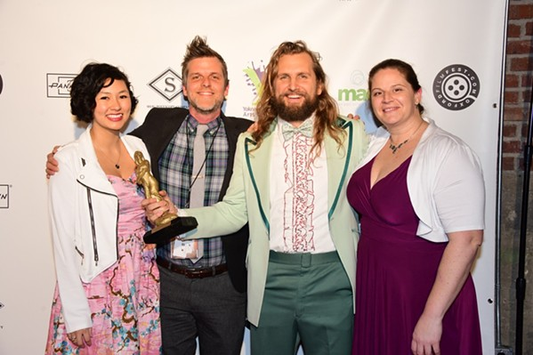 Sonya A. May, Hudson Phillips, Jordan Noel, and Trisha Solyn celebrate their win for Best Narrative Feature at the Oxford Film Festival. - JOEY BRENT