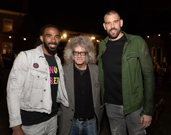 Mike Conley, Michael Donahue and Marc Gasol at Art on Fire. - FRANK CHIN