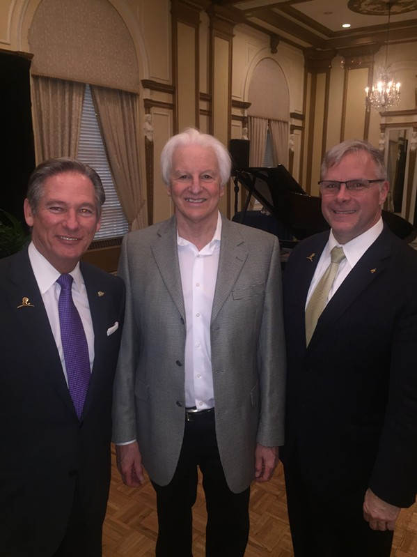 Doug Browne, Marty Belz, and Scott Boucher at The Peabody 150th anniversary reception. - MICHAEL DONAHUE