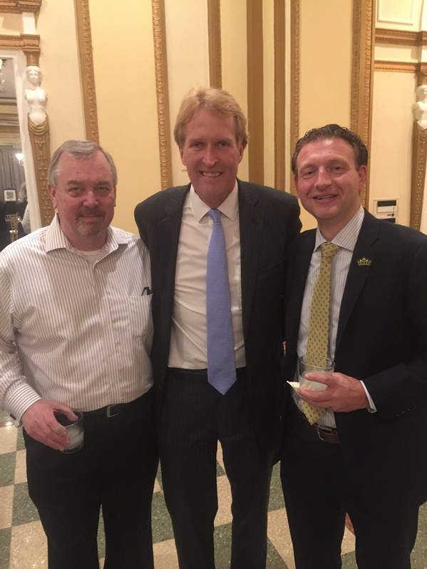 Jim Holt, Kevin Kane, and Craig Unger were at The Peabody's 150th anniversary kickoff reception. - MICHAEL DONAHUE
