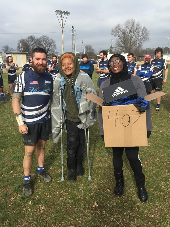 Rob Reetz, Kamyla Rivers and Jayla Hampton at Memphis Blues Rugby Club season opener. - MICHAEL DONAHUE
