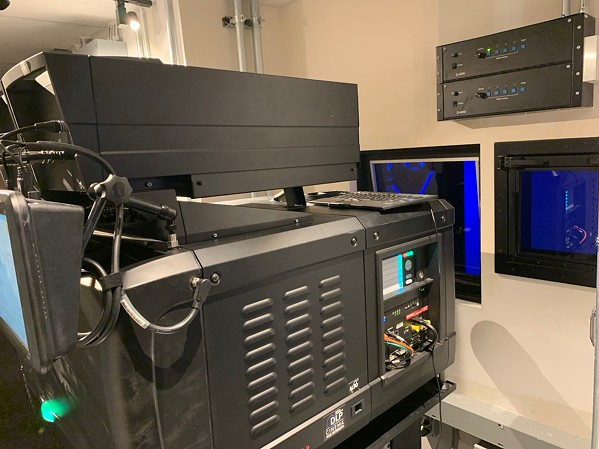 Fresh out of the box! The newly-installed 4K laser-phosphor projector at the heart of the Powerhouse's MXT theater.