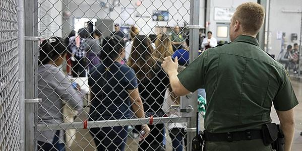 Children line up inside a U.S. - immigration detention center. - COURTESTY OF U.S. CUSTOMS AND BORDER PROTECTION