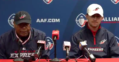 Memphis Express Coach Mike Singletary and quarterback Johnny Manziel at Manziel's initial press conference.