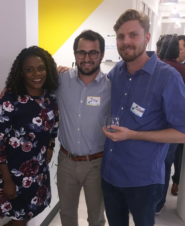 Kristen Smith, Drew Carlson and MIchael Shelton at the Launch Pad grand opening party. - MICHAEL DONAHUE