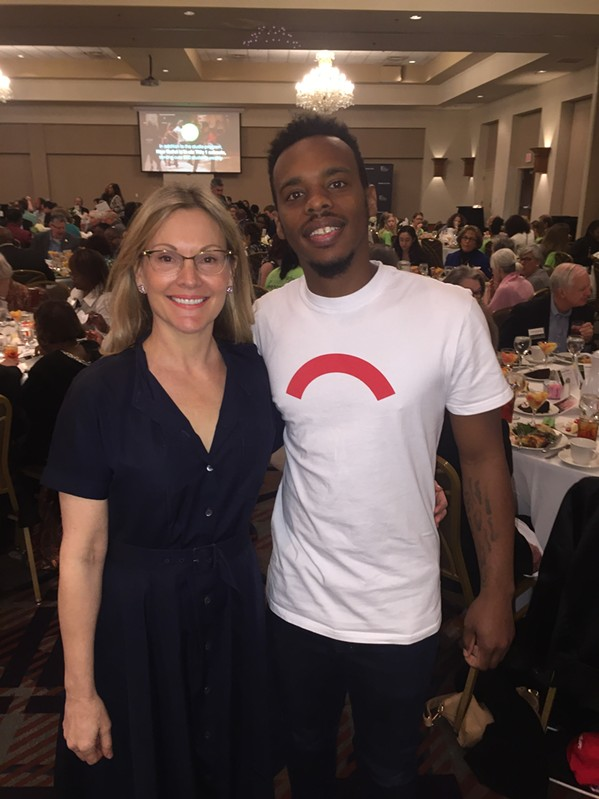 "Katie Smythe and Charles ""Lil Buck"" Riley at New Ballet Ensemble luncheon. - MICHAEL DONAHUE"