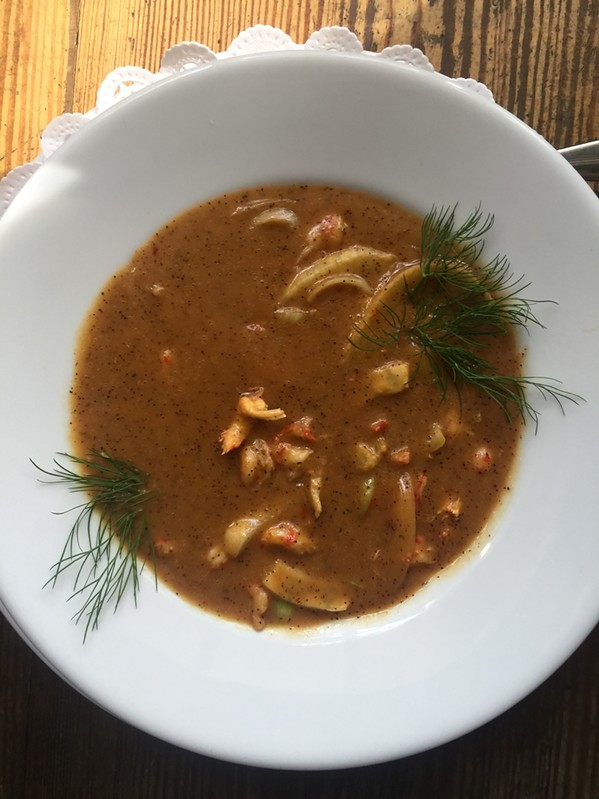 Crawfish bisque at Erling Jensen: The Restaurant. - MICHAEL DONAHUE