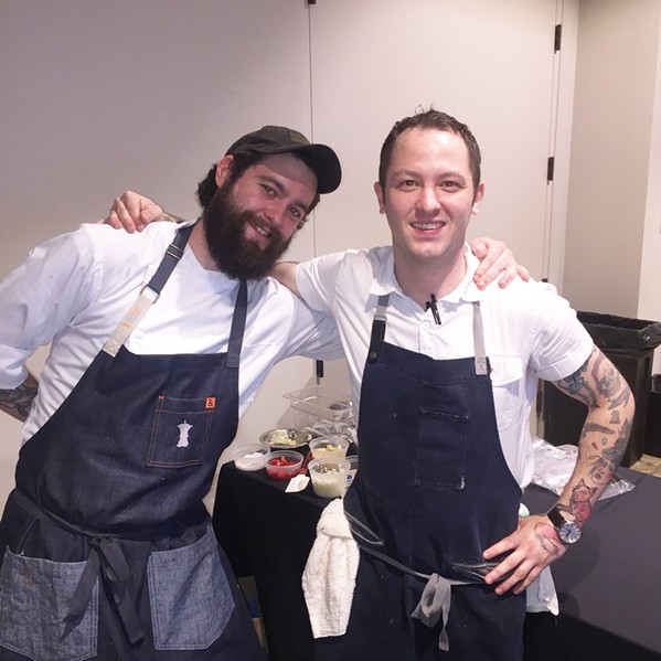 Austin Kempel and J. R. Bearden at Uncork the Cure. - MICHAEL DONAHUE