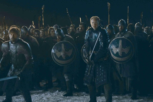 Jamie Lannister (Nikolaj Coster-Wildu) and Ser Brianne of Tarth (Gwendoline Christie) prepare for the undead onslaught during the Battle of Winterfell. - COURTESY HBO