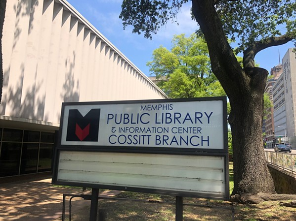 The current library sign and courtyard - MAYA SMITH