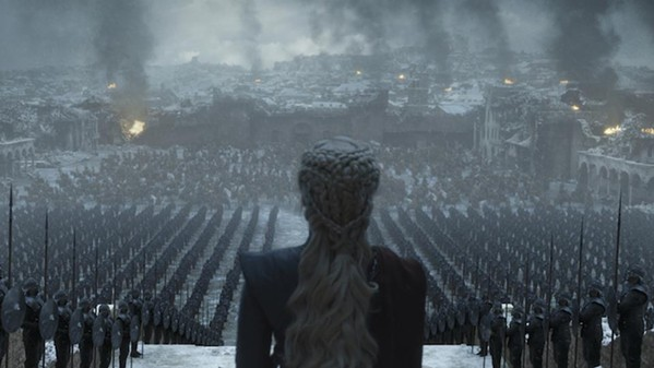 A victorious Daenerys Targaryen addresses her troops in the ruins of King's Landing.