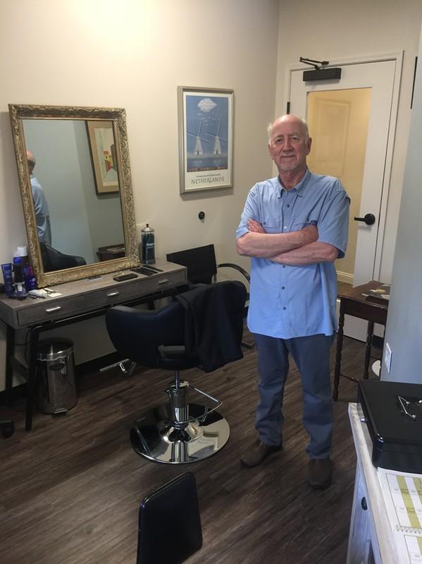 Veteran Memphis hair stylist Hans Bermel in his new digs at Phenix Salon Suites. - MICHAEL DONAHUE